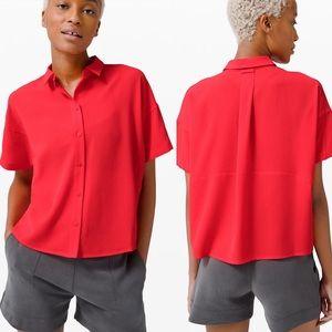Lululemon Short Sleeve Button Down Shirt Blouse